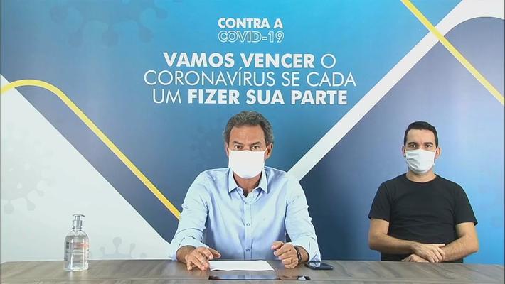 O prefeito Marquinhos Trad na transmissão desta 4ª-feira (8.julho)