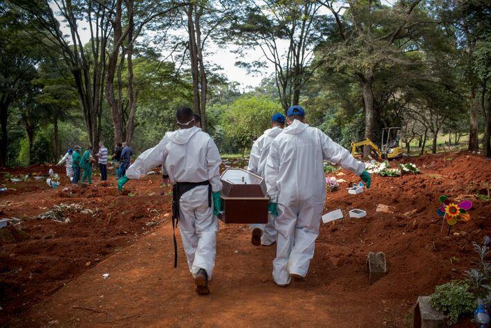 Cemitério - enterro de uma vítima da Covid-19 no Brasil