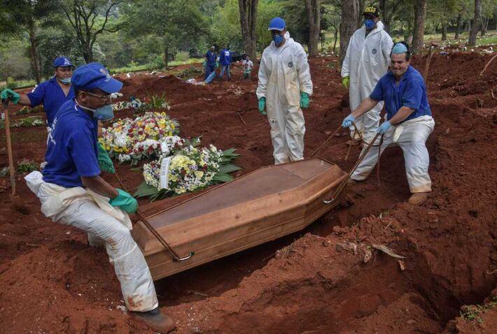 Enterro de umas das vítimas de Covid-19 no Brasil