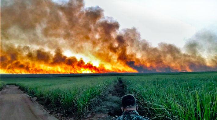 Incêndio de grandes proporções também foi registrado em um canavial em Costa Rica, caracterizado como criminoso