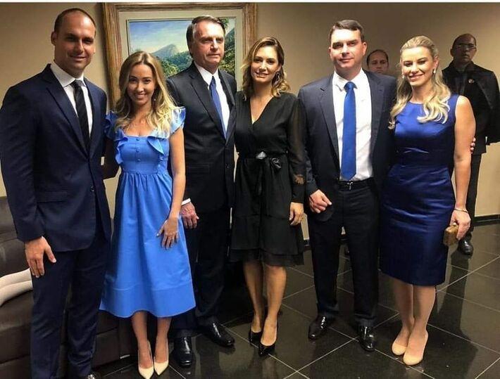 Imagem ilustrativa - composição atual da família Bolsonaro