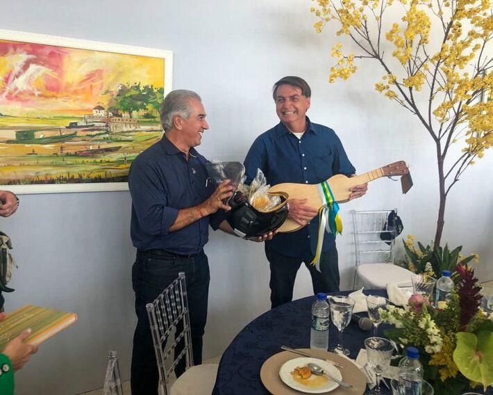 O governador Reinaldo Azambuja e o Presidente, Jair Bolsonaro