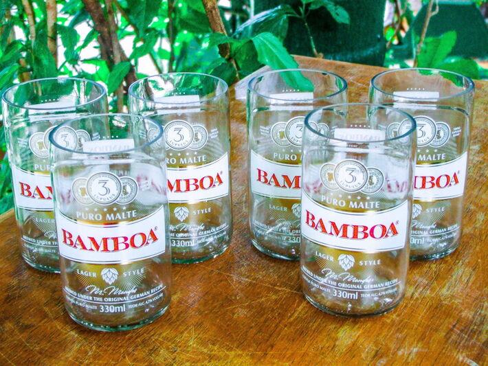 Copos feitos com garrafas de cerveja bamboa 330ml