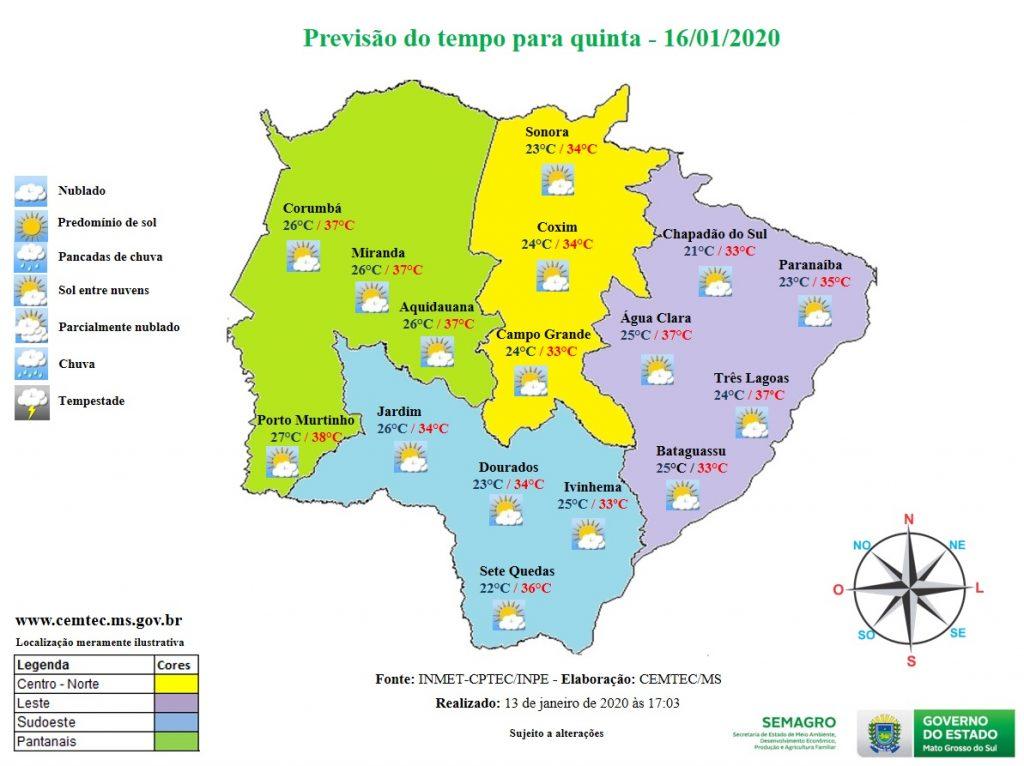 Mato Grosso do Sul terá mais um dia com altas temperaturas | MS Notícias
