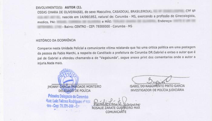 Boletim de ocorrência registrado nesta 4ª-feira (11.nov) em delegacia de Corumbá (MS)