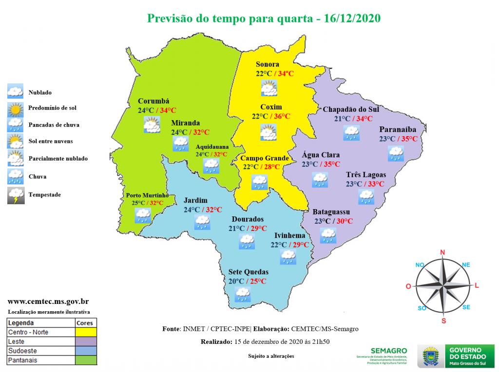 Clima em Mato Grosso do Sul nesta 4ª-feira, 16 de dezembro de 2020