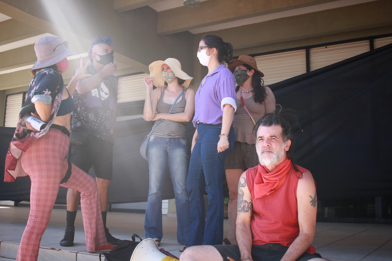Artistas durante manifestação