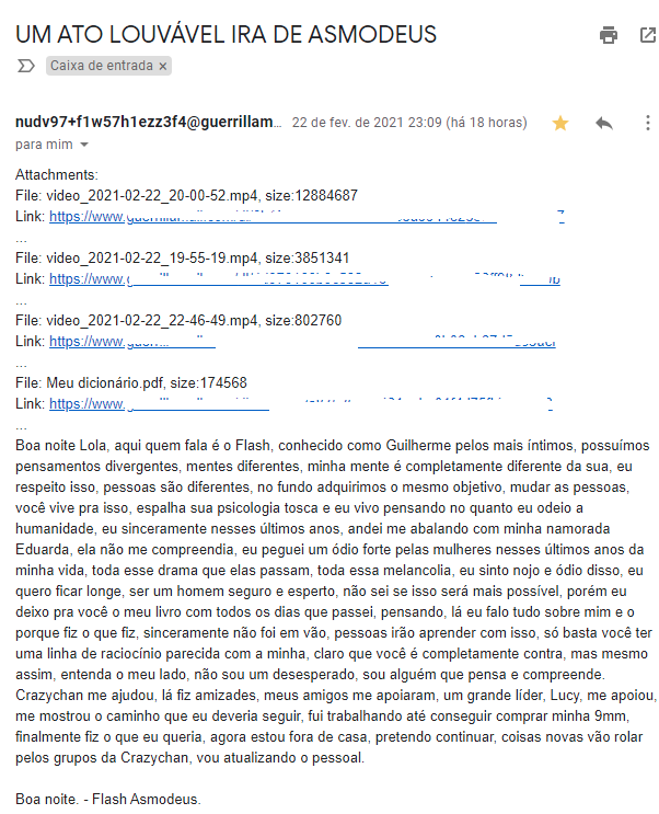 E-mail eviado pelo assassino