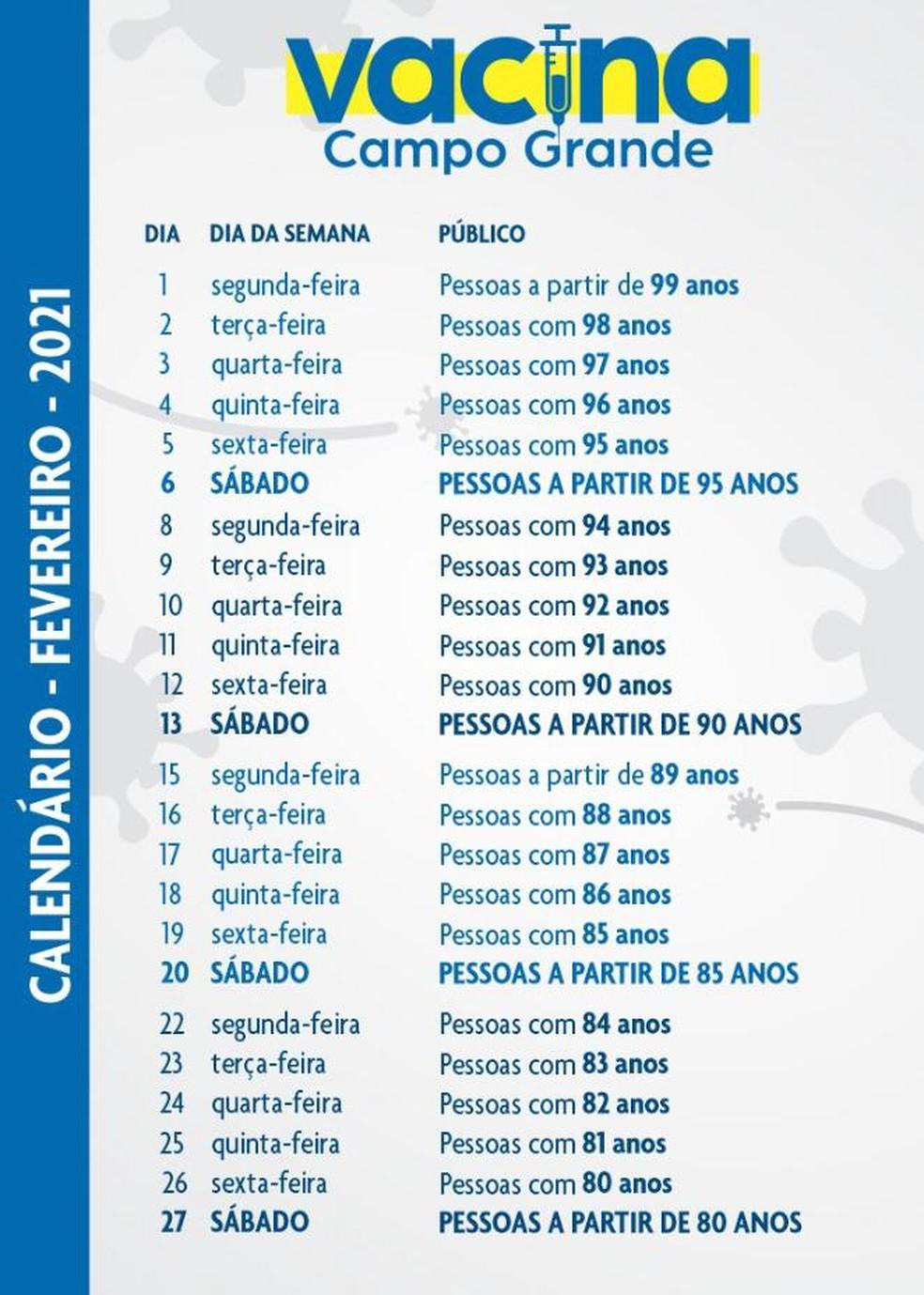 Calendário de vacinação para idosos em fevereiro em Campo Grande (MS)