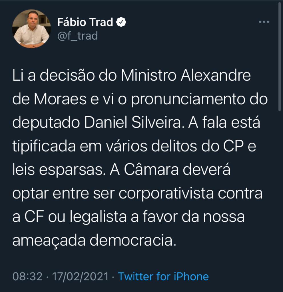 Fábio Trad se manifestou no Twitter quanto a prisão de Daniel Silveira