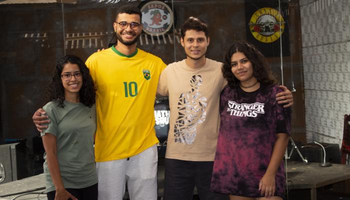 Coordenação do Projeto Gema. Da esquerda para direita: Nayara Machado, Rodrigo Souza, Felipe Barreto e Nanda Nóbrega