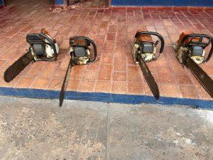 Motosserras apreendidas com moradores de Campo Grande