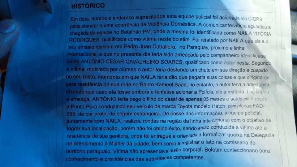 Boletim de Ocorrência registrado por Naila contra Antonio Cesar