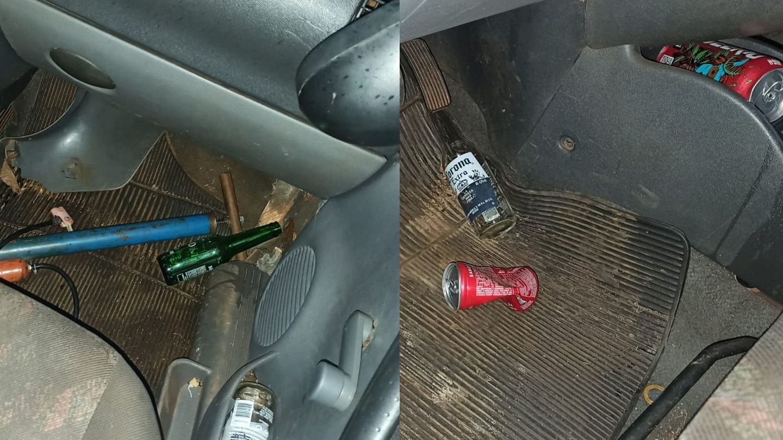 Recipientes de bebidas achados pela polícia no interior do Montana.