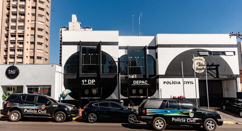 Fachada da 1ª Delegacia de Polícia de Campo Grande.