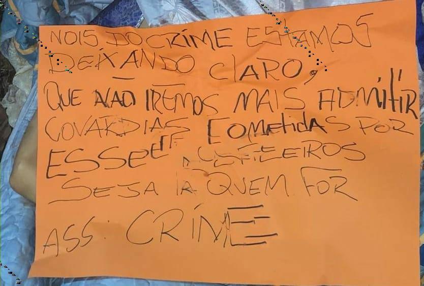 """Suposto bilhete deixado pelo """"Crime"""". Foto: Reprodução"""